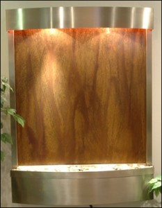 stainless steel and copper wall fountain