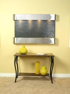 sunrise springs stainless steel and slate wall fountain